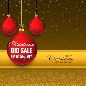 Verkaufshintergrundvektor der kugel der frohen weihnachten großer