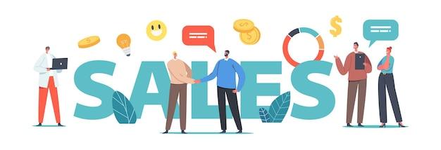 Verkaufskonzept. geschäftsleute männliche und weibliche charaktere, die sich die hände schütteln, arbeitsfragen diskutieren, an marketingstrategie-entwicklungsplakaten, bannern oder flyern arbeiten. cartoon-menschen-vektor-illustration