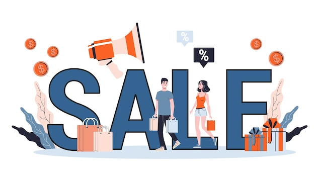Verkaufskonzept. sonderangebot und großer rabatt. bestpreis. idee der unternehmensförderung. weihnachts- oder blackfriday-verkauf. illustration