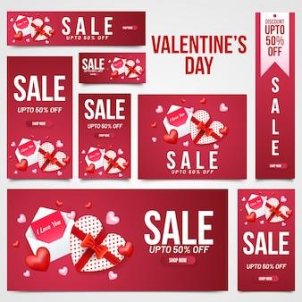 Verkaufskopfzeile, -fahne und -schablone des valentinstags stellten mit illust ein
