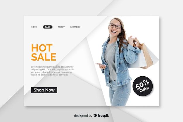 Verkaufslandungsseitenschablone mit foto