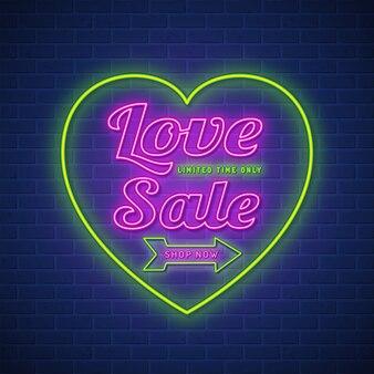 Verkaufsleuchtzeichen-designschablone des valentinstags