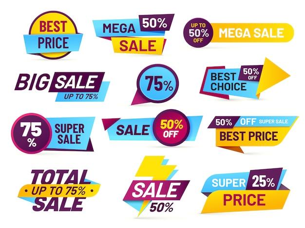 Verkaufsmarken. einzelhandelsverkaufsaufkleber, förderungspreisschild und lokalisierter satz der speicherpreiskalkulations-fahnenaufkleber
