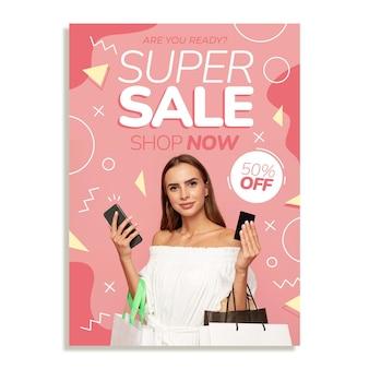 Verkaufsplakatschablone des flachen designs mit foto