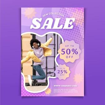Verkaufsplakatschablone mit farbverlauf mit foto