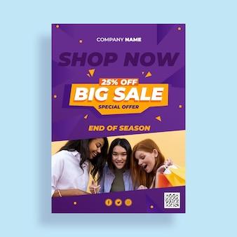 Verkaufsplakatvorlage mit farbverlauf mit angebot