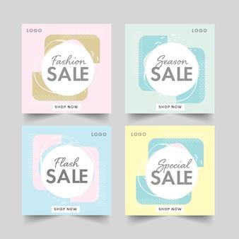 Verkaufspost oder vorlagendesign in vier farboptionen.
