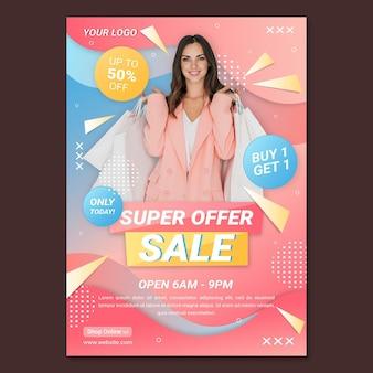 Verkaufsposter mit farbverlauf mit foto
