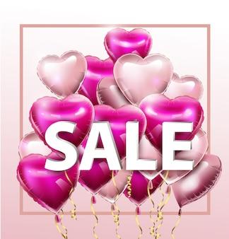 Verkaufsrabattbanner für valentinstag vektorvorlage sonderangebotsplakat mit herzballons