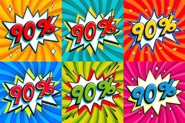 Verkaufsset. verkauf neunzig prozent 90 aus tags auf einem comic-stil knallform hintergrund. pop-art-comic-rabatt-werbebanner.