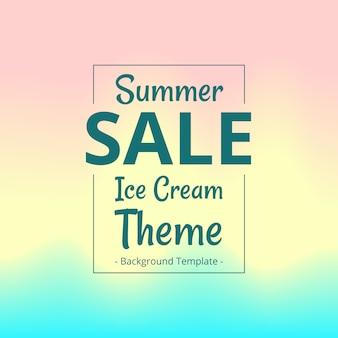 Verkaufssymbol-fahnenschablone des sommers flache mit unscharfem eiscremehintergrund