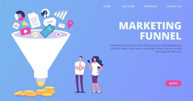 Verkaufstrichter für digitales marketing. vektor-trichter, der verkaufslandeseite erzeugt. illustration generation social marketing, geschäftsstrategie