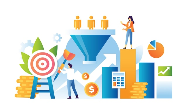 Verkaufstrichter marketing illustration konzept