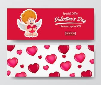 Verkaufsverkaufsfahne des Valentinstags mit Amor