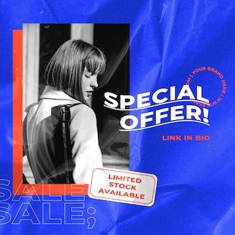 Verkaufsvorlage mit retro-farbhintergrund für mode- und trends-influencer-konzept