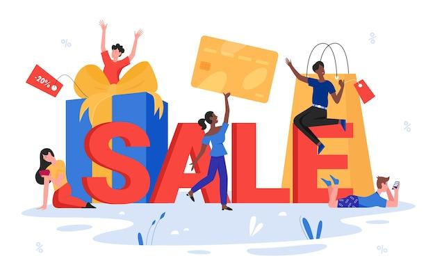 Verkaufswortillustration. glückliche kundenleute, die kreditkarte, winzige käufercharaktere halten, die das einkaufen genießen, neben verkaufsbeschriftung, typografie stehen