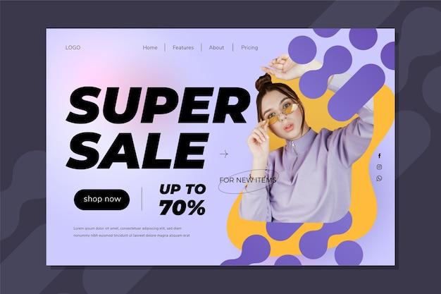 Verkaufszielseitenvorlage mit farbverlauf mit foto