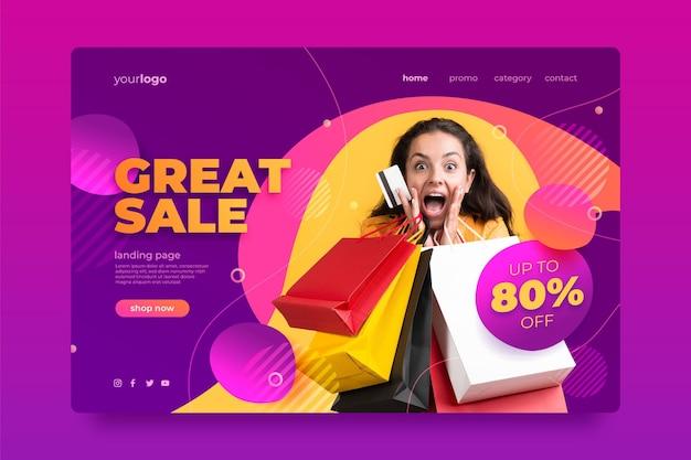 Verkaufszielseitenvorlage mit farbverlauf mit foto Kostenlosen Vektoren