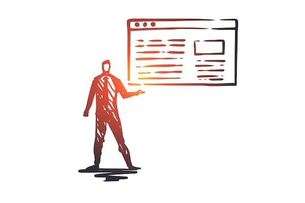 Verkehr, website, internet, technologie, digitales konzept. hand gezeichneter manager präsentiert eine verkehrsbericht-konzeptskizze.