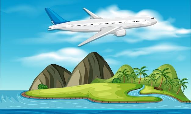 Verkehrsflugzeug über der insel