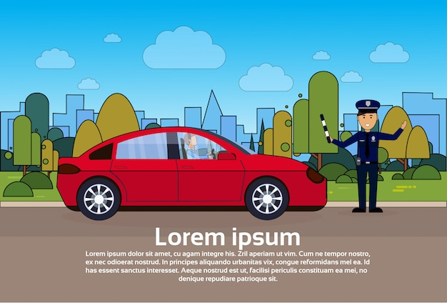 Verkehrsleiter-polizist on road with-auto über stadt