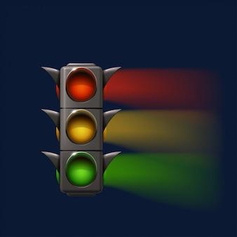 Verkehrslicht auf dem dunklen hintergrund