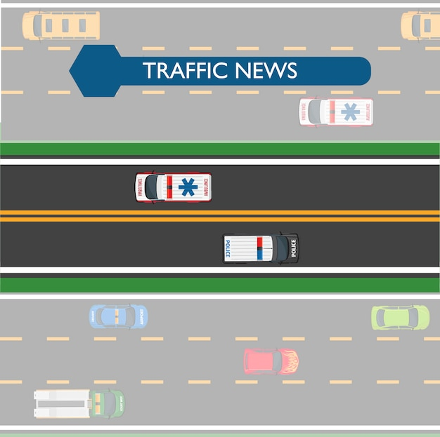 Verkehrsnachrichten-ikone mit straßenlinien und transport