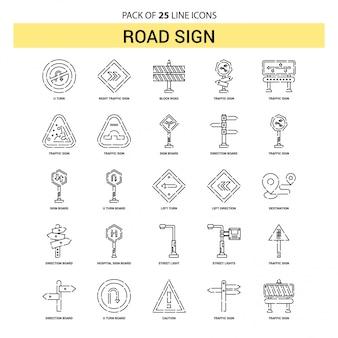 Verkehrsschild-linie ikonen-set - 25 gestrichelte entwurfs-art