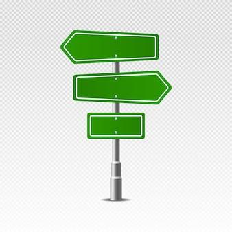Verkehrsstraße realistisches zeichen. grünes straßenstraßenschild.