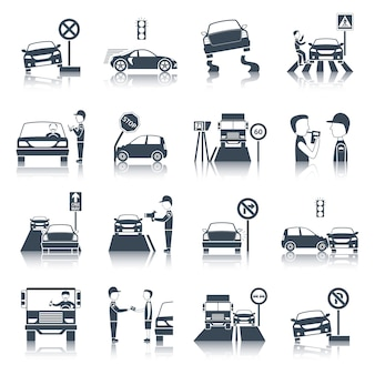 Verkehrsverletzung icons set