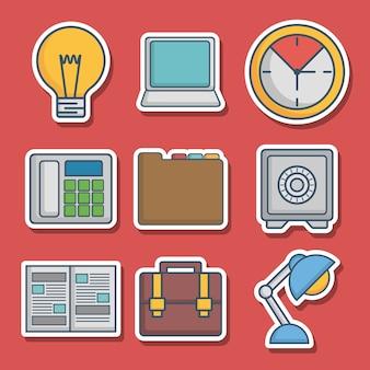Verknüpfte ikonen der aktenkoffer- und büroelemente