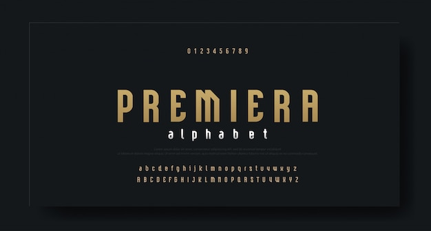 Verkürzte moderne luxusschriftart alphabet
