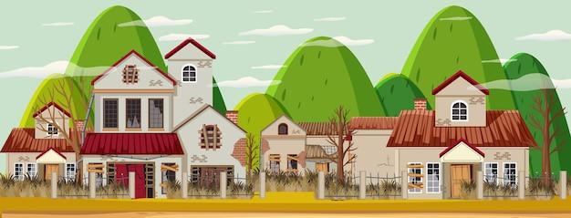 Verlassen sie leere ländliche stadt mit altem kaputtem haushintergrund