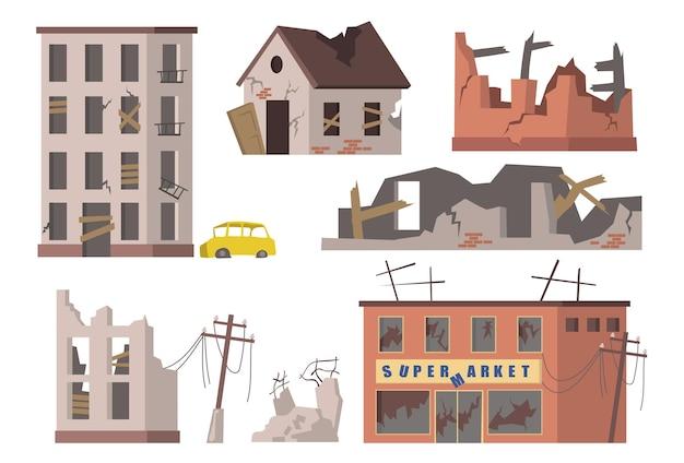 Verlassene häuser gesetzt. alte zerstörte stadtgebäude, wohnhäuser und trümmer von supermärkten, zerrissene stromleitungen.