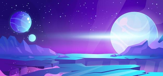 Verlassene landschaft des kosmischen hintergrundfremden planeten mit bergen