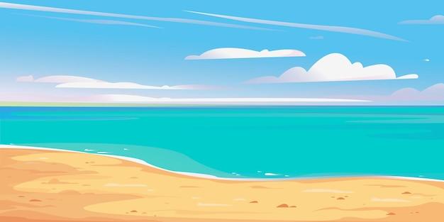 Verlassenes ufer strand banner schöne vektor-illustration blauer himmel sommerurlaub