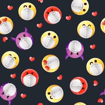 Verlaufs-emoji mit gesichtsmaskenmuster