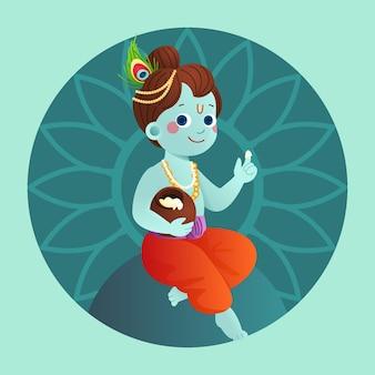Verlaufsdarstellung von baby krishna, die butter isst