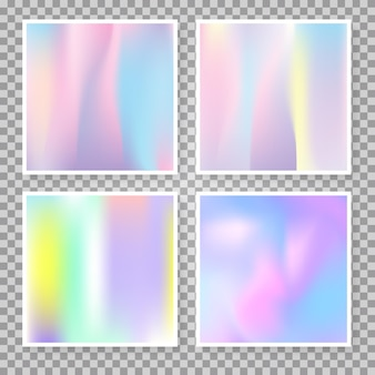 Verlaufsgitter abstrakte hintergründe eingestellt. holographischer kunststoffhintergrund mit verlaufsgitter. 90er, 80er retro-stil. perlglanz-grafikvorlage für banner, flyer, cover, mobile schnittstelle, web-app.