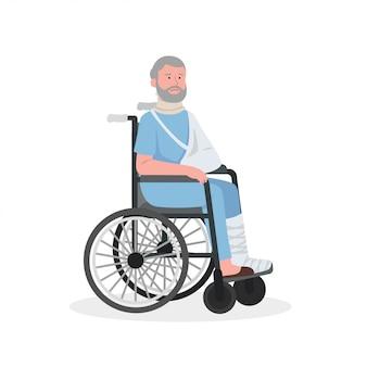Verletzter alter mann auf rollstuhl