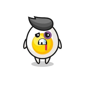 Verletzter charakter aus gekochtem ei mit gequetschtem gesicht, süßes design für t-shirt, aufkleber, logo-element