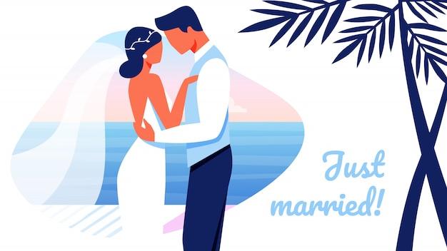 Verliebte gerade verheiratete glückliche paar-hochzeits-fahne