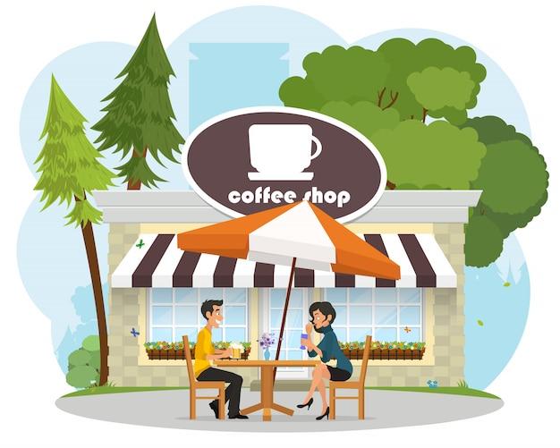 Verliebte junge leute bei einem date in einem café im park.
