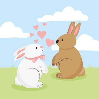 Verliebte kaninchen zwischen herzen. valentinstag.