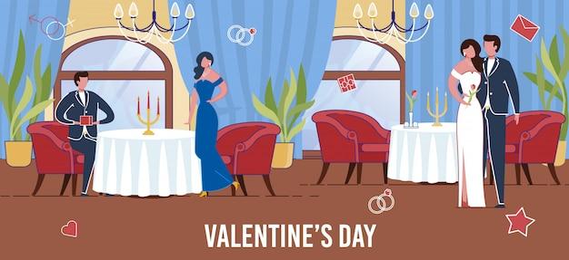 Verliebte paare, die den valentinstag in einem restaurant feiern