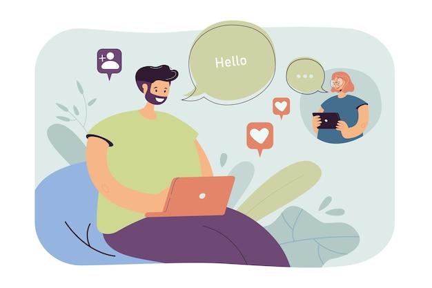 Verliebtes mädchen und kerl, die online chatten. paar, das nachrichten in sozialen medien sendet. karikaturillustration