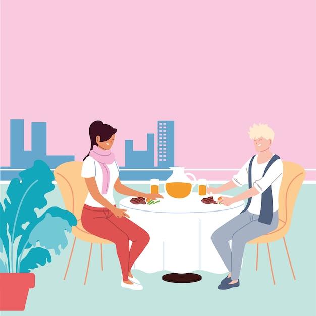 Verliebtes paar, das abendessen und einen saft im restaurantillustrationsdesign hat
