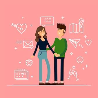 Verliebtes pärchen. mann und frau umarmen sich liebevoll. zeichen für valentinstag. illustration im cartoon-stil.