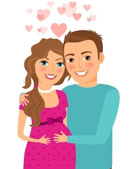 Verliebtes pärchen. schwangere frau mit ihrem ehemann. verheiratet und lächeln, beziehung und romantisch. vektorillustration