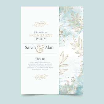 Verlobungskartenschablone mit eleganten elementen